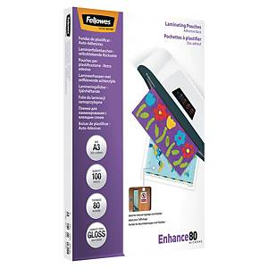 Fellowes Laminating Pouches Adhesive 80Mix2 A3 - Pack Of 100