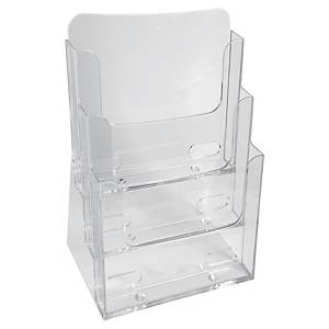 Tischprospektständer Exacompta 75158D, aus Polysterene, A5, transparent, 3Fächer