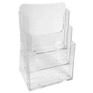 Exacompta Monobloc Counter Display 181x154x280mm A5 3-Compartment Clear