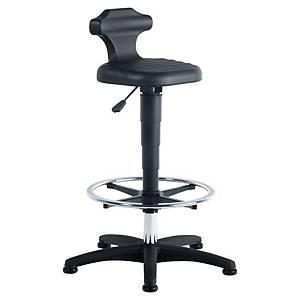 Prosedia 9408 industriële zit- en stastoel met voetsteun, PUR, zwart