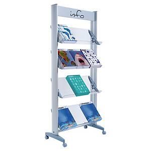 Présentoir mobile Paperflow - 4 tablettes orientables - gris/transparent