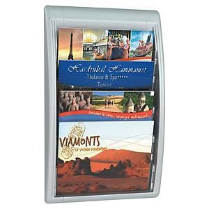 Présentoir mural A4+ Paperflow Quick Fit - format paysage - 4 cases - argenté