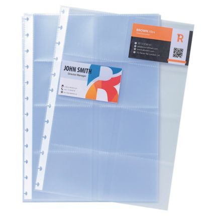 Exacompta Business Card Holder Refill Sheets A4 10 Pockets