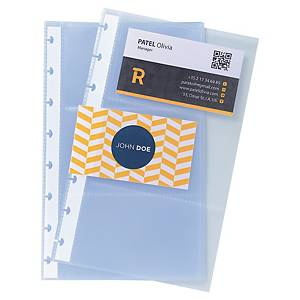 Exacompta A5 Business Card Holder Refills, Translucent, Pack 10