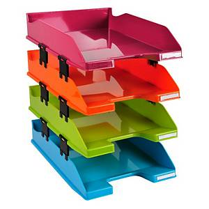 Exacompta Iderama Set of 4 COMBO MIDI A4+ Letter Trays, Assorted Colours