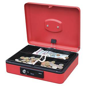 CASH BOX W/AUTO BUTTON 250X180X90MM RED