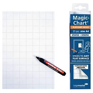 Tableau blanc sur rouleau Legamaster Magic Chart, 20 x 30 cm, à carreaux