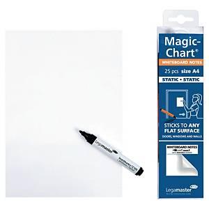 Elektrostatické poznámkové bločky Legamaster Magic Chart, A4 bílé, 25 ks