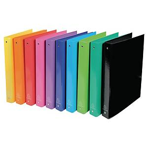 Exacompta Iderama A4 Ring Binder, 4 Rings, 40mm Spine, Assorted Colours, Pack 10