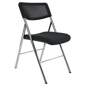Chaise visiteur Alba - pliante - tissu - noire - lot de 2
