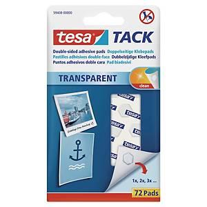 Tesa® dubbelzijdige transparante kleefpads transparant, pak van 72 stuks