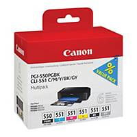 Canon inkoustová kazeta PGI-550/CLI-551 (6496B005), 5-barevná Č/C/M/Ž/S