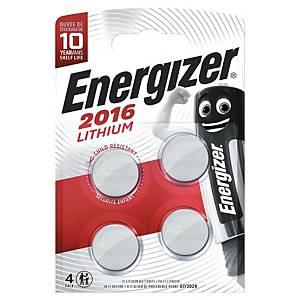 Knappcellebatterier Energizer Lithium CR2016, 3V, pakke à 4 stk.