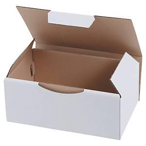 Boîte d'expédition, carton blanc écologique, 220 x 130 x 350 mm, les 50 boîtes