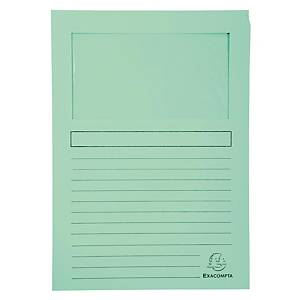 Chartek Exacompta, med vindue, grøn, pakke a 100 stk.