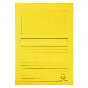 Chartek Exacompta, med vindue, gul, pakke a 100 stk.