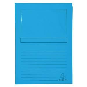 Chartek Exacompta, med vindue, blå, pakke a 100 stk.