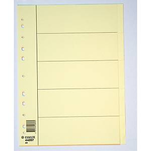 Skilleark Esselte, manila, 5-delt, A4, gul