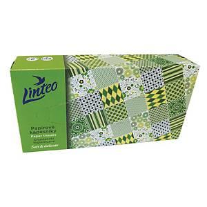 Linteo Satin papírzsebkendő dobozban, fehér, 100 darab, 2 rétegű
