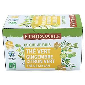 Thé vert de Ceylan gingembre citron vert bio Ethiquable - 20 sachets fraîcheur