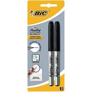 Bic tekstiili-/pesulakynä musta, 1 kpl=2 kynää