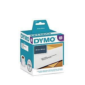 Rol van 260 Dymo etiketten voor labelprinter 28x89mm wit - doos van 2