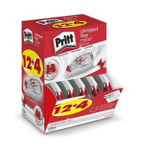 Pritt Compact Flex correctieroller 4,2 mm x 10 m, value pack 12 + 4 gratis