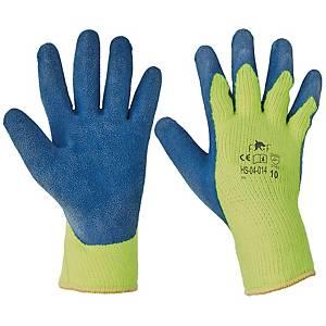 Zateplené rukavice latexové, velikost 10, barva modrá/žlutá