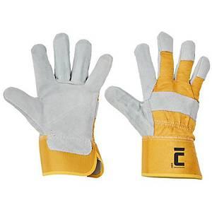 CERVA EIDER bőrkesztyű, méret 10, sárga, 12 pár
