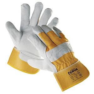 Rękawice skórzane CERVA Eider, żółte, rozmiar 10, para