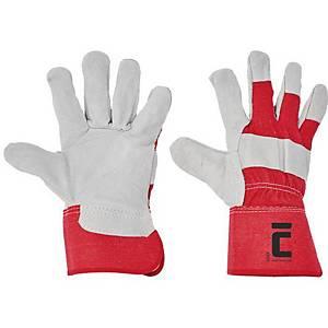 Kožené rukavice ČERVA EIDER, velikost 11, barva bílo/červená