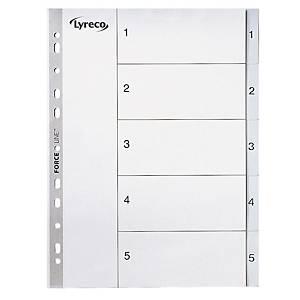 Separador índice 1-12 Lyreco - folio - PP - multitaladro