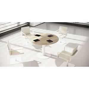 Mesa de reunião redonda Ofitres - ⌀ 1200 mm - faia/alumínio