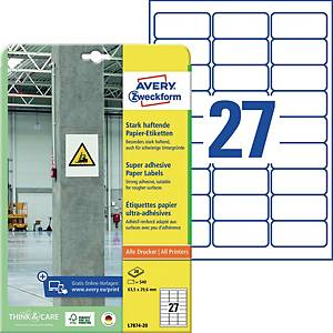 Universal-Etiketten Avery Zweckform L7874-20, 63,5x29,6mm, starkhaft., we, 540St