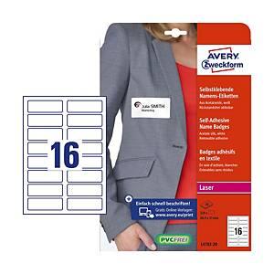 Étiquettes pour nom Avery Zweckform L4783-20, blanc, 20feuilles, 320unités