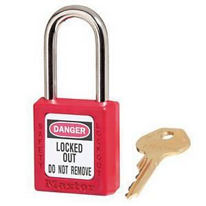 MASTER LOCK กุญแจพลาสติก ห่วงเหล็กชุบแข็ง KD 6 มิลลิเมตร แดง
