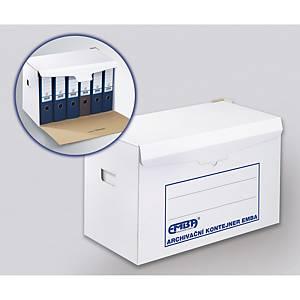 Emba archiváló doboz K/6x80 iratrendezőkhöz, fehér, 10 darab