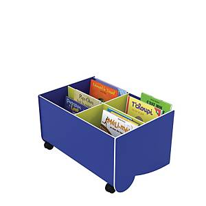 Bogkasse Paperflow med hjul lille blå/lime