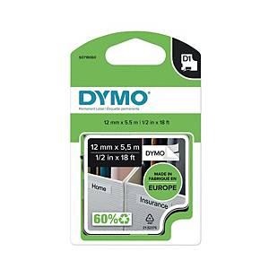 Schriftband Dymo D1 16955, Breite: 12mm, schwarz auf weiß