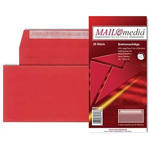 Briefumschläge C6/5 114x229mm ohne Fenster Haftklebung rot 25 Stück