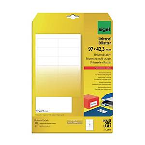 Sigel LA140 Universal Labels White 97 X 42.3mm - Pack of 300