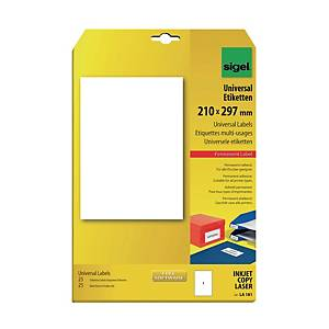 Sigel LA181 Universal Label White 210 X 297 mm - Pack of 25