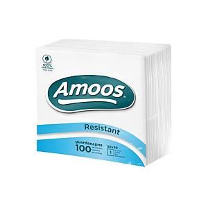 Paquete 100 servilletas de papel Amoos - 1 capa - 300 x 300 mm -blanco
