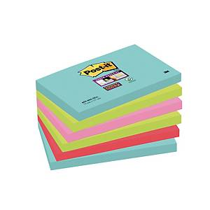 Notes Post-it® Super Sticky 655-SSMI 76x127 mm couleurs Miami, paquet de 6 blocs