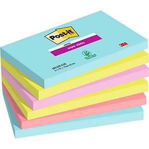 Post-it® Super Sticky Notes 655-SSMI, Miami kleuren, 76 x 127 mm, per 6