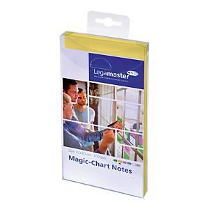 Notes LEGAMASTER Magic Chart, żółty, elektrostatyczny, 10 x 20 cm, 100 kartek