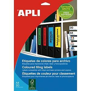 Embalagem 100 etiquetas para pasta arquivo Apli 1377 - 190 x 61 mm - verde