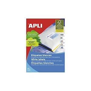 Caja de 200 etiquetas adhesivas Apli 1243 - 210 x 148 mm - blanco