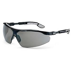 Uvex 9160076 I-VO PC veiligheidsbril, zwart/grijs, pak van 5