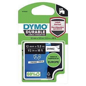 Ruban Dymo D1 durable - 12 mm - noir sur blanc